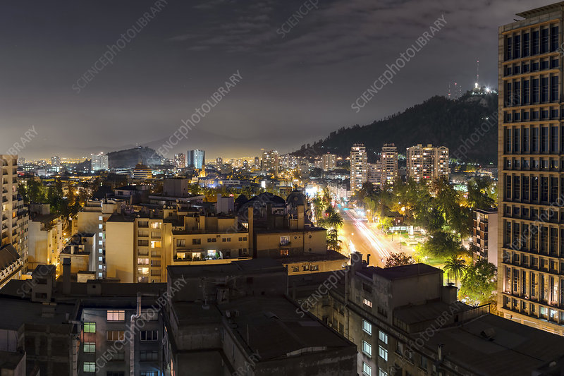 Santiago, Chile, at night