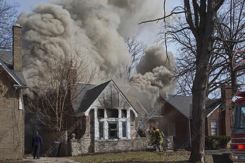 Firefighters attending a house fire