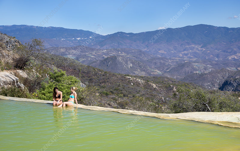 Sunbathers at a geothermal pool
