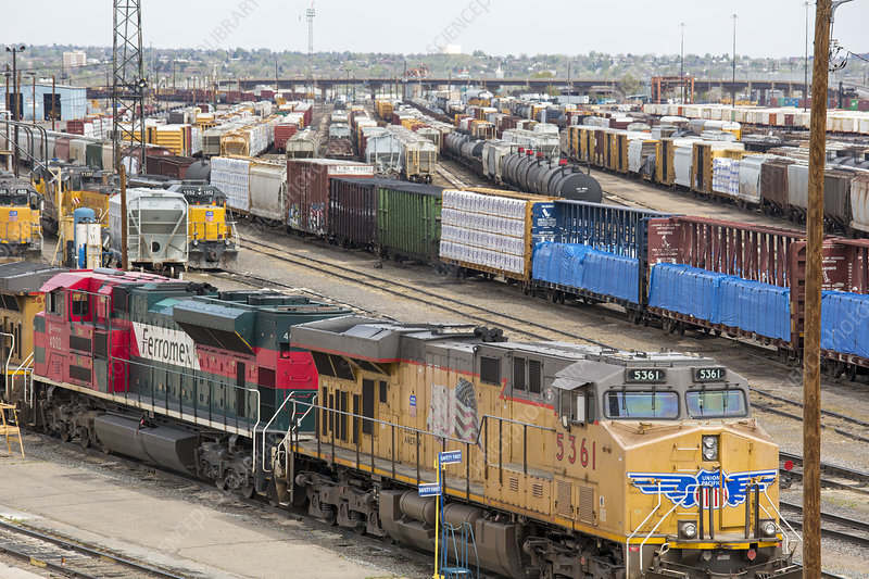 Freight trains at a rail yard