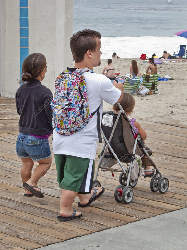 Parents and Child Stroll on Boardwalk