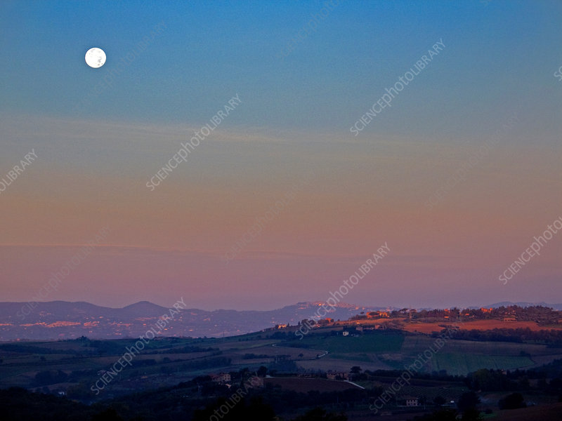 Moon Hanging over Montepulciano, Italy