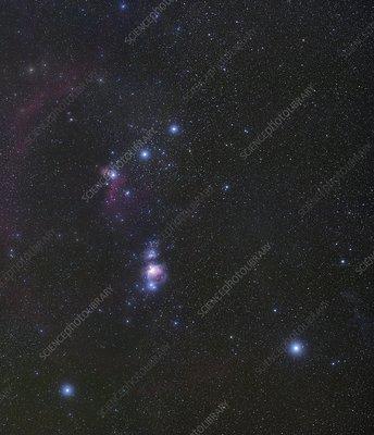 Orion's Belt and nebulae