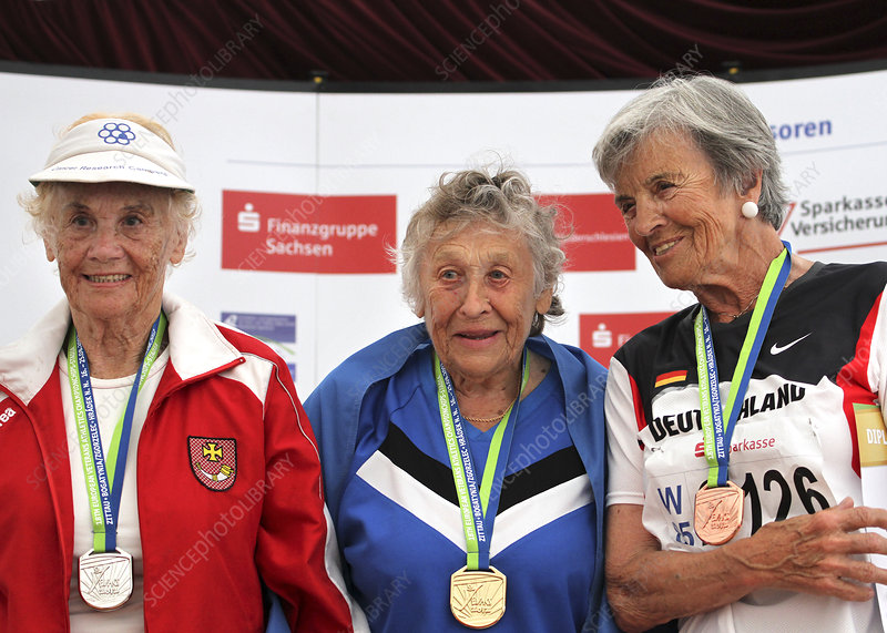 Older female athletes on medals rostrum