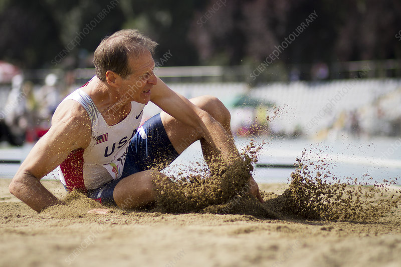 American senior competes in long jump