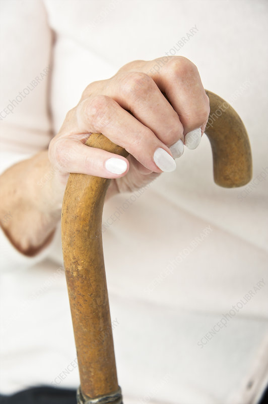 Hand on a walking stick