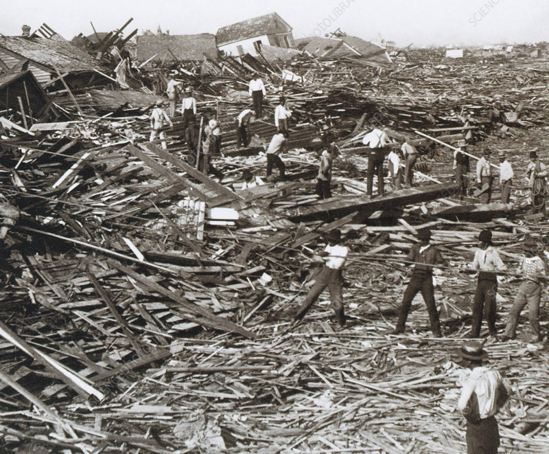Hurricane Damage, Galveston, 1900