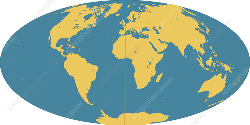 World Map Prime Meridian World Map with Prime Meridian   Stock Image   C025/3466   Science