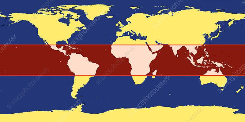 World Map with Tropic Zone - Stock Image - C025/3469 - Science Photo ...