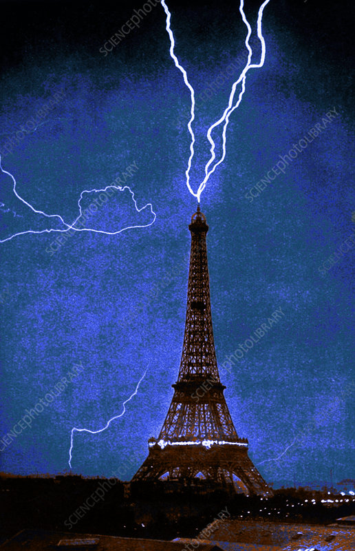 Lightning Strikes Eiffel Tower, 1902