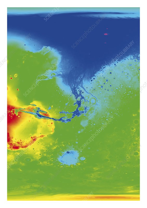 Hypothetical water map of Mars