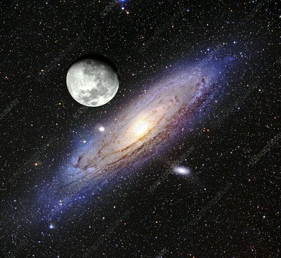 Andromeda Galaxy and moon