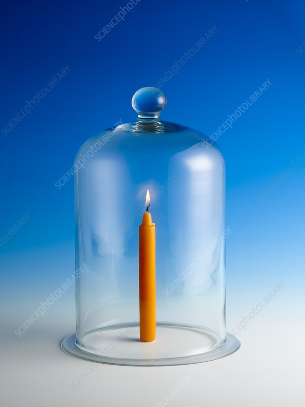 Candle in a bell jar