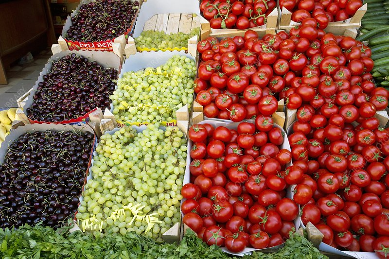 Fruit market stall, Turkey