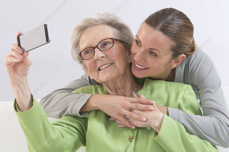Elderly person with phone