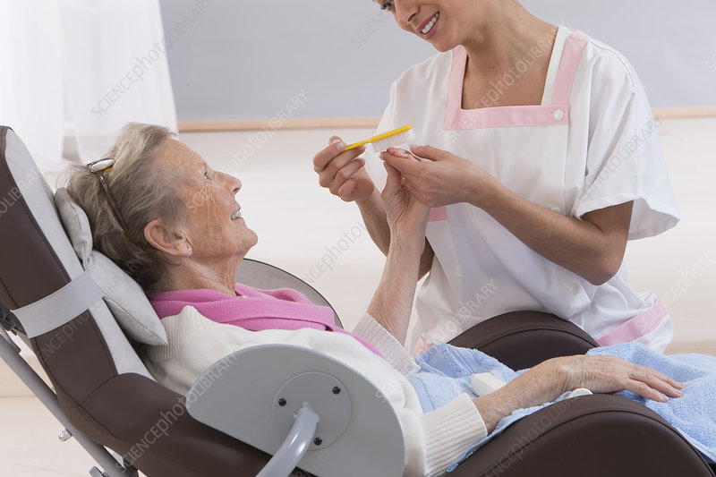 Hand care, elderly person