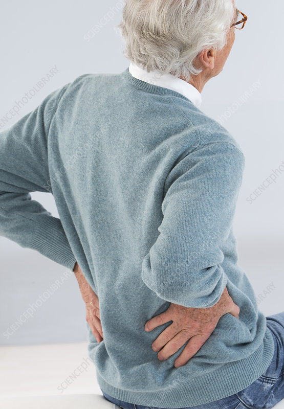 Senior with lower back pain