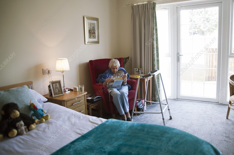 Elderly woman in a care home