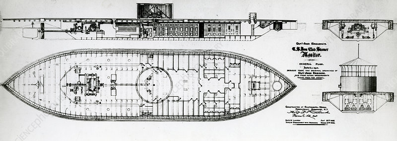 Ironclad warship USS Monitor, drawing
