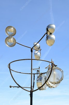 Anemometer and wind drums on a roof