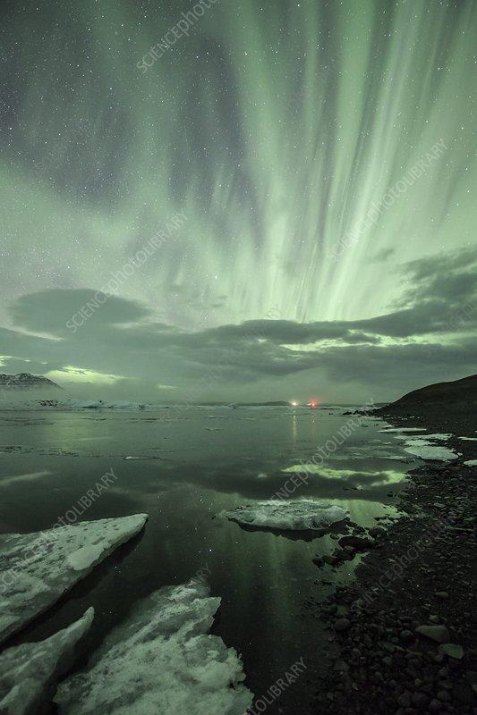 Aurora above Jokulsarlon