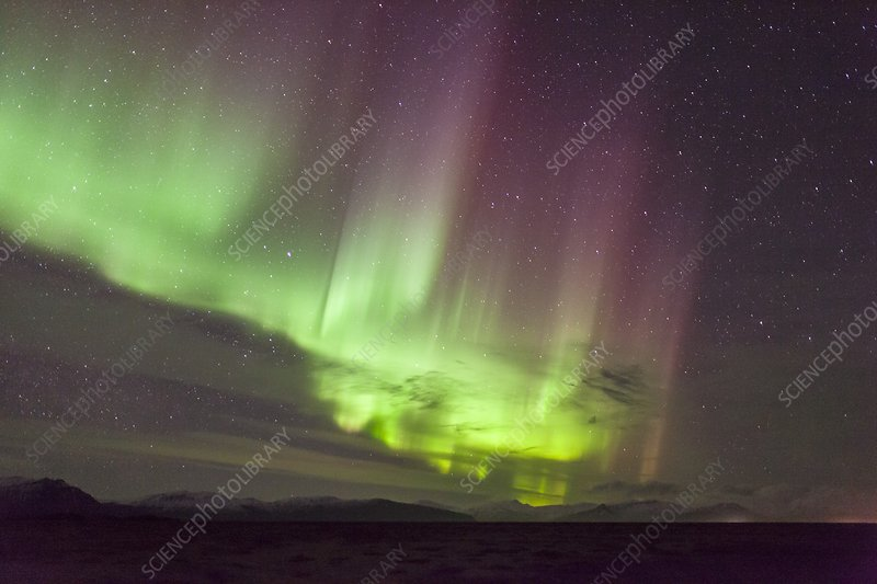 Purple and green aurora