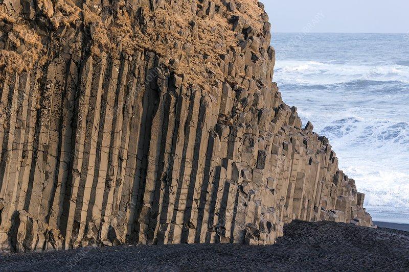 Basalt columns on beach