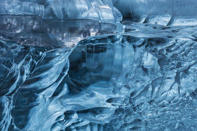 Blue glacier ice