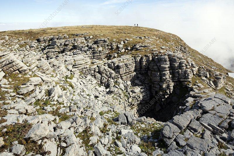 Doline on summit plateau