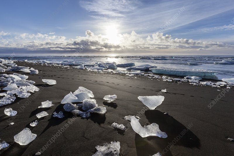 Iceberg scattered on beach