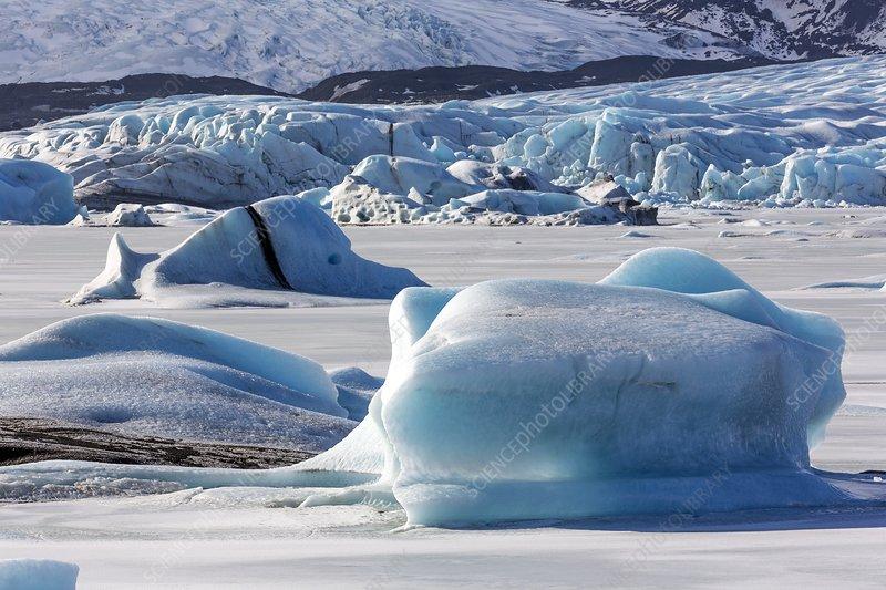 Blue icebergs in proglacial lake