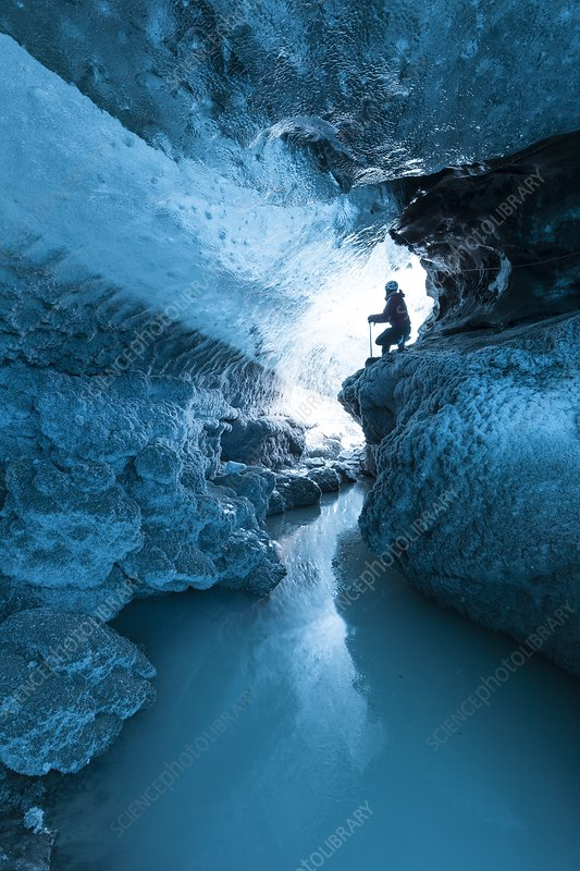 Ice cave and subglacial pond