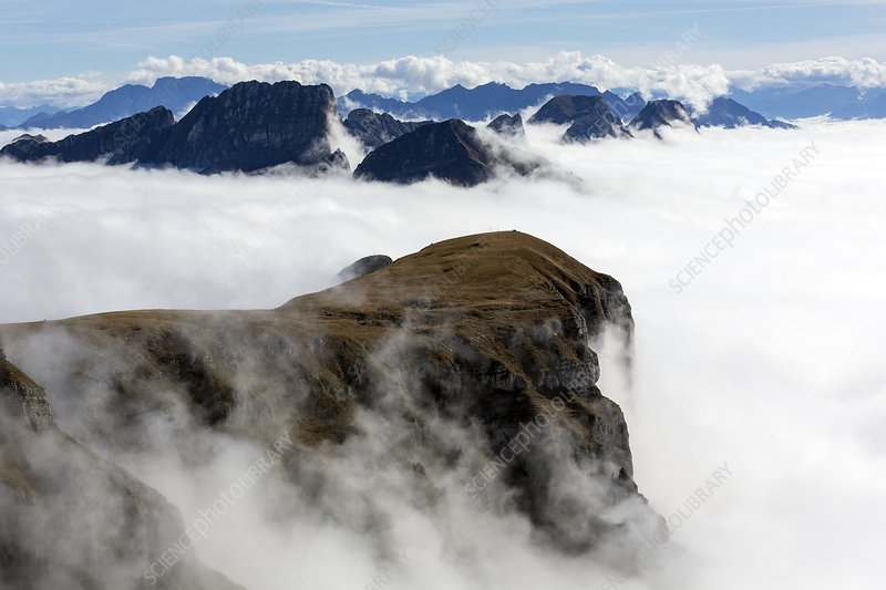 Peaks surrounded by sea of fog