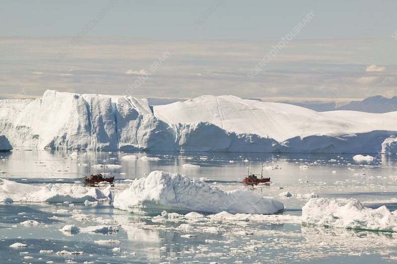 Tourist boat trips sail through Icebergs