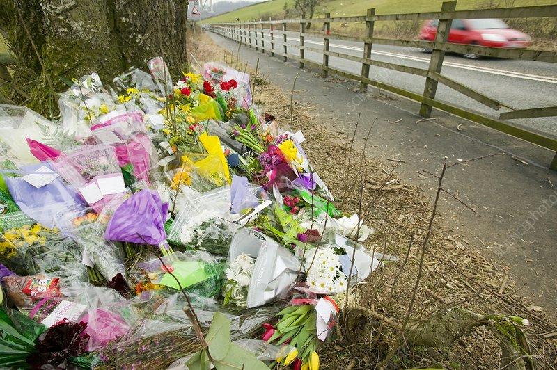 Memorial of a car crash victim