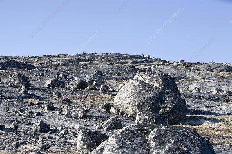 Rocks left by retreating glacier