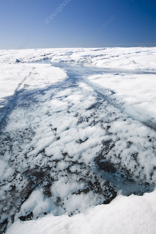 Melt water on the Greenland ice sheet