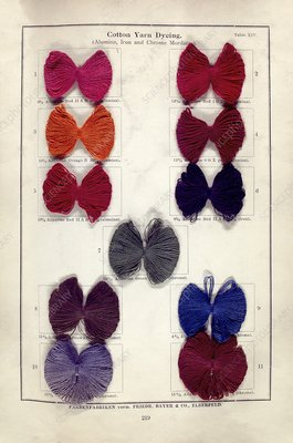 Dyed cotton yarn samples, 1902