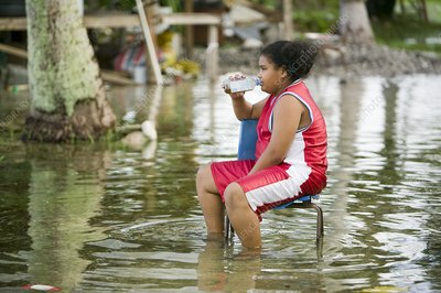 Funafuti being flooded by sea water