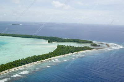 Funafuti atol on Tuvalu from the air