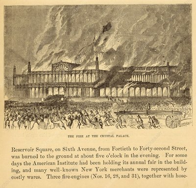 New York Crystal Palace on fire, 1858