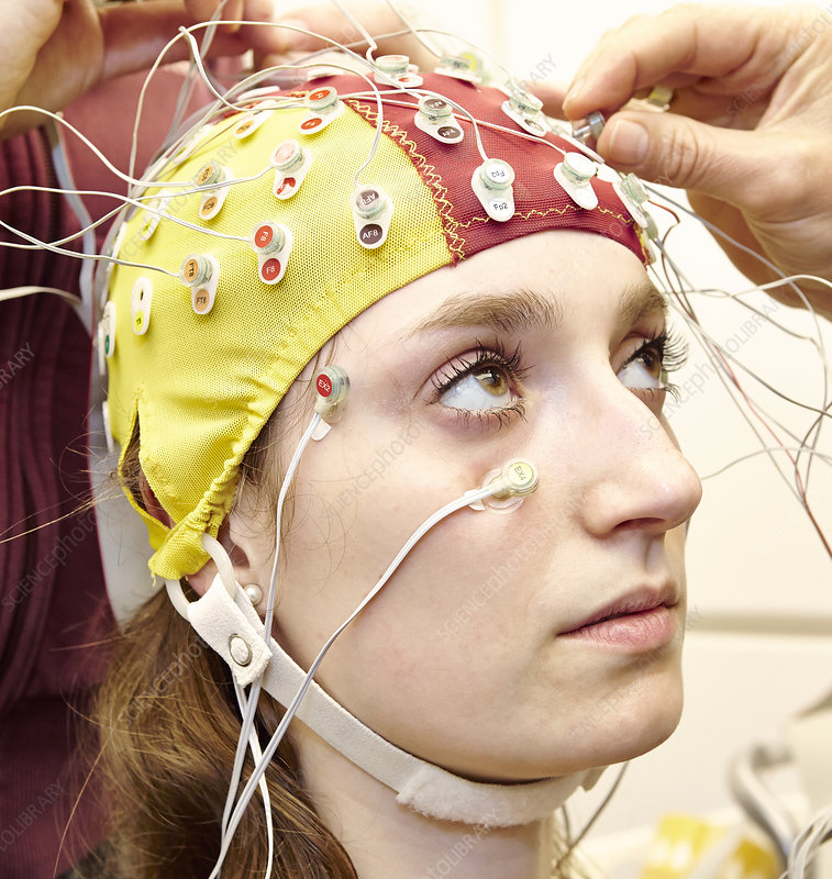 Student wired for an EEG experiment,