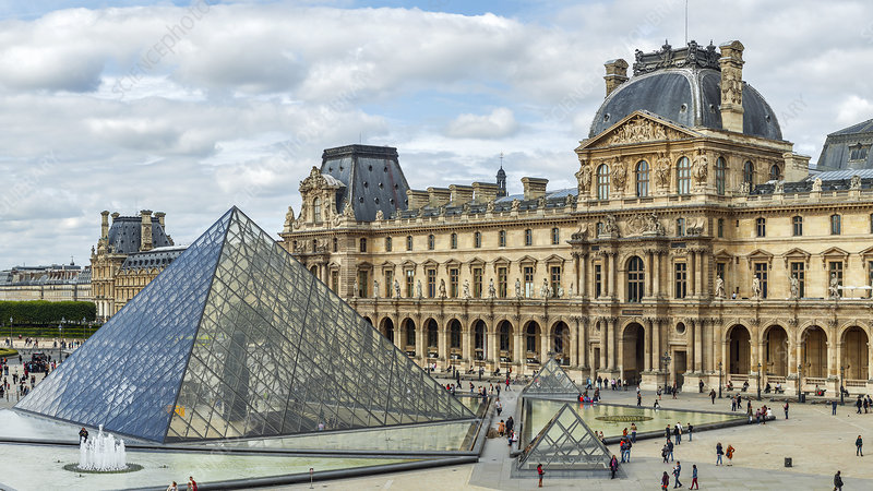 Louvre pyramids and buildings
