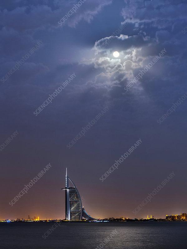 Moon over Burj Al Arab hotel, Dubai