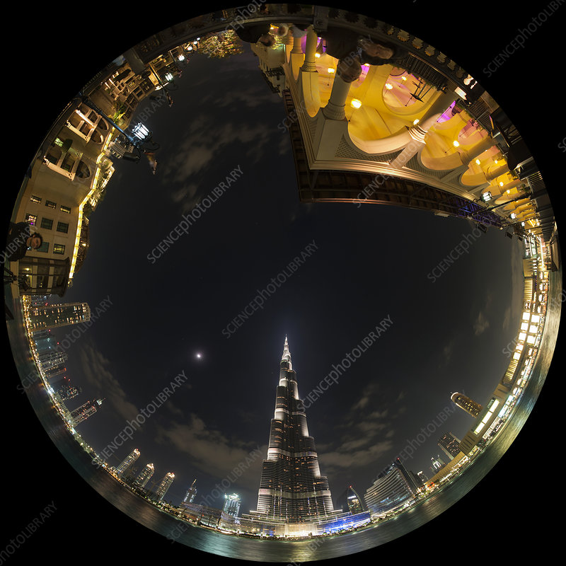Dubai skyscrapers, fish-eye view