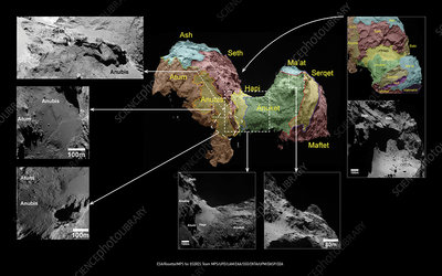 Map of Comet Churyumov-Gerasimenko