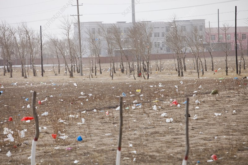 Drought and plastic rubbish, China