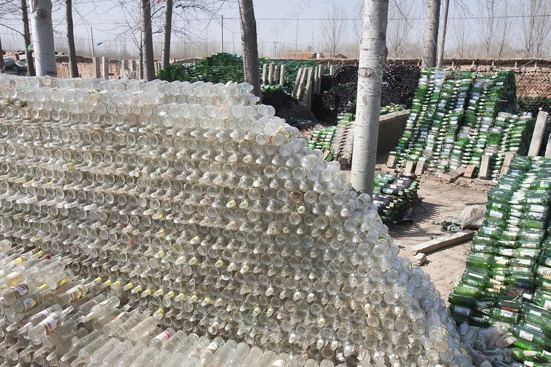 Recycling glass, China