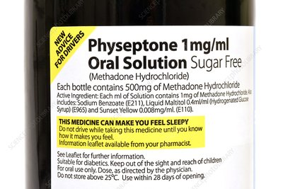 Methadone drug bottle label