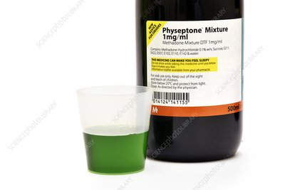 Methadone drug bottle and liquid